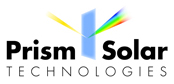 Logo for Prism Solar Technologies - solar panel manufacturer - planar prism with sun coming in from the left and refracted light on the right