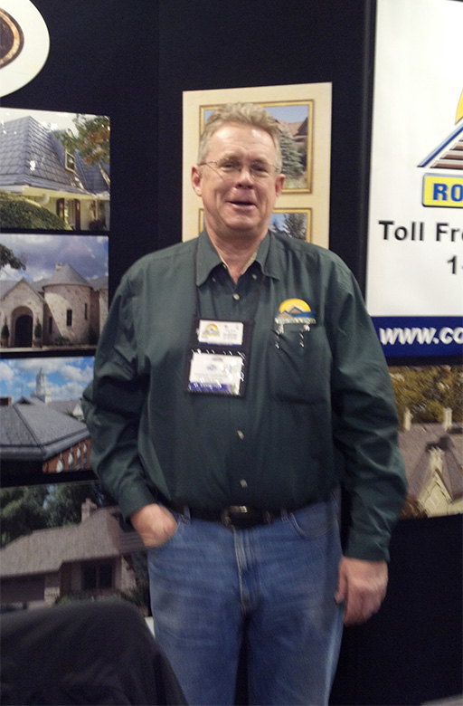 Nick Welle and roofer in Denver CO, at a home show.